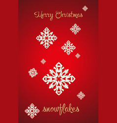 snowflakes on a red background vector image