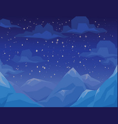 winter scene with mountains landscape night vector image vector image
