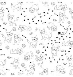 Cartoon cats seamless pattern vector image