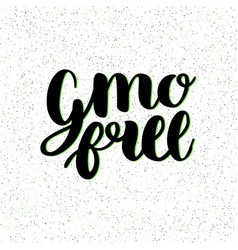 gmo free hand drawn logo label vector image