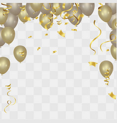 gold balloons and confetti party background vector image