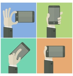 Mobile in hands on color business concept vector
