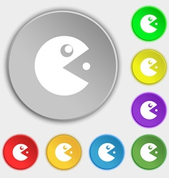 pac man icon sign Symbol on eight flat buttons vector image vector image