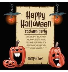 Pumpkins and lanterns with card fot text vector image vector image