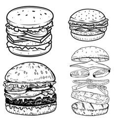 set of burger design elements for postermenu vector image vector image