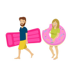 young couple walking with inflatable mattress vector image