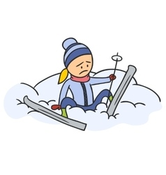 Caricature skier vector image