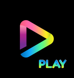 colorful icon play logo isolated background vector image vector image