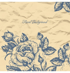 Floral background with crushed paper vector image vector image