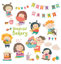 Funny cartoon children and sweets vector