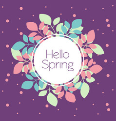 greeting card banner hello spring in trendy vector image