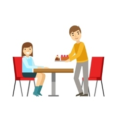 Guy Briniging Cakes To The Girl At The Table vector image vector image