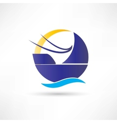 sailboat sea sun icon vector image