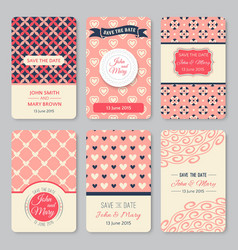 Set of perfect wedding templates with pattern vector image