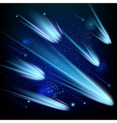 Shining blue meteorites in the starry sky EPS 10 vector image