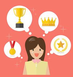 Woman think about achievements vector