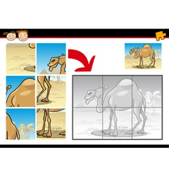 cartoon camel jigsaw puzzle game vector image