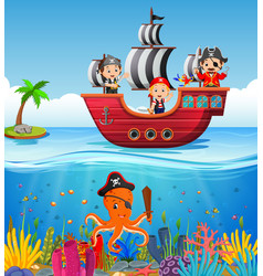 children on pirate ship and ocean scene vector image