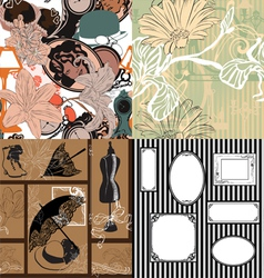 Four seamless pattern with vintage objects vector image