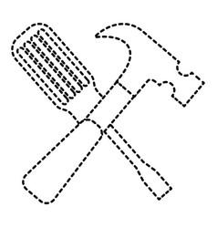 hammer and screwdriver tools equipment repair vector image