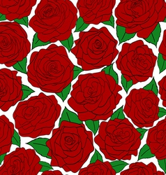 seamless pattern of red roses on white background vector image vector image