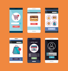 Smartphone with ecommerce application vector