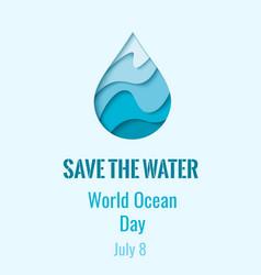 world ocean day - waterdrop banner vector image