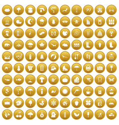 100 landscape icons set gold vector