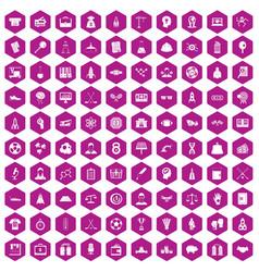 100 success icons hexagon violet vector image