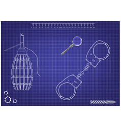 3d model of grenades and handcuffs on a blue vector image