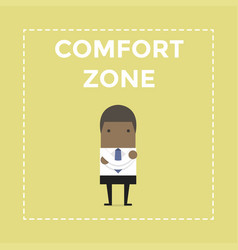 African businessman standing in comfort zone vector