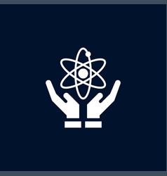atom on hand icon simple school element symbol vector image