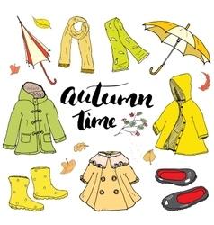 Autumn season clothes set Hand drawn doodles and vector image vector image