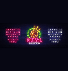 basketball neon sign royal basketball vector image