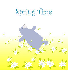 Bear sleep in the spring flower garden vector