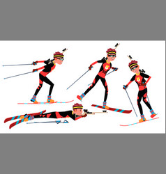biathlon male player playing in different vector image