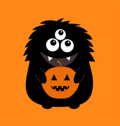 Black monster silhouette holding pumpkin cute vector