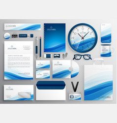 Blue business stationery set for your brand vector