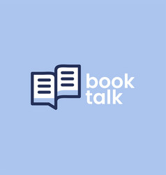 book talk chat bubble logo icon vector image
