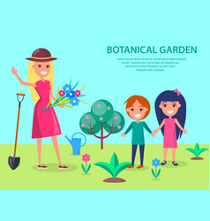 botanical garden with smiling woman gardener vector image