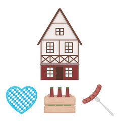 box with beer fried sausage heart of the vector image