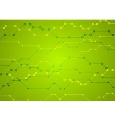 Bright green tech circuit board background vector