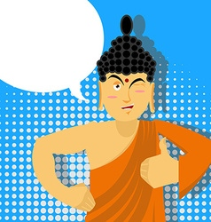 Buddha Thumbs up in pop art style Indian god Sign vector