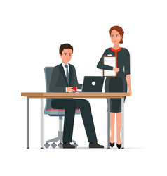 Businessman and woman works together vector