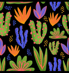 cactus seamless pattern cacti in bright vector image