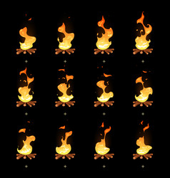 Cartoon bonfire flame animated sprites vector