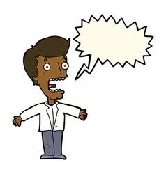 Cartoon screaming man with speech bubble vector