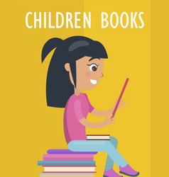 Children books poster with girl and textbooks vector