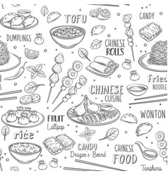 Chinese cuisine seamless pattern vector