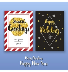 Christmas poster template with glitter decoration vector